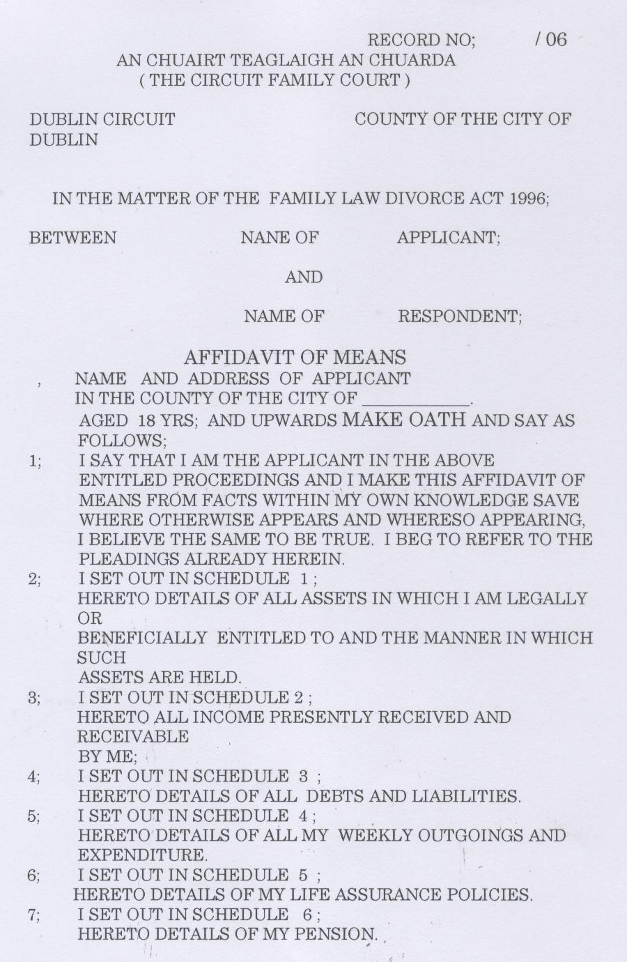 Unmarried and separated parents of ireland court documents click here to view the first page of a sample affidavit of means altavistaventures Gallery