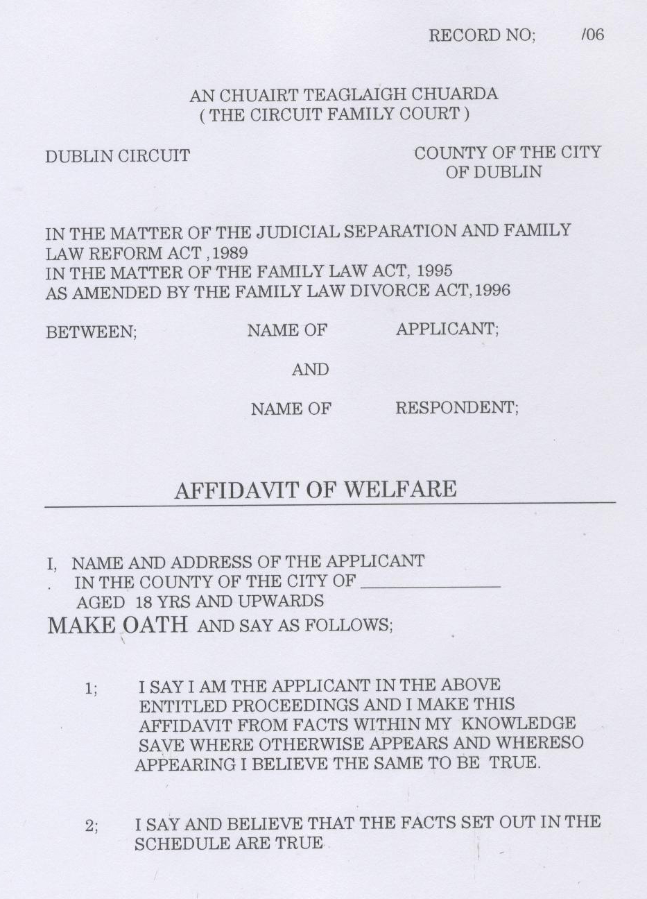 Click Here To View The First Page Of A Sample Affidavit Welfare